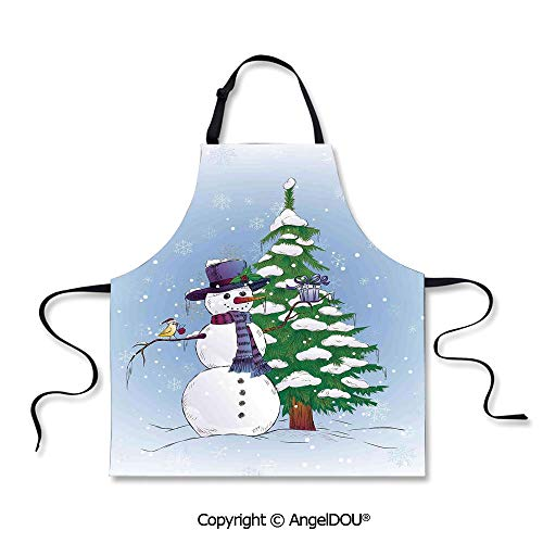 SCOXIXI Adult Kitchen Dinner Party Cooking Apron Snowman in Winter with Mistletoe Gift Top Hat and Scarf Tree and Bird for Kitchen Men Women use.