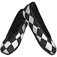 Nufoot Indoor Girls Shoes Ballet Flats, Black and White Checkers, X-Small 2...
