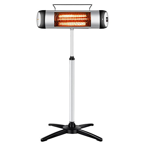 sundate Electrci Outdoor Heater, Electric Infrared Space Heater Radiant Home Heater with Remote Control and 24-Hour Timer for Indoor/Outdoor Use, Free Standing or Wall Mounted