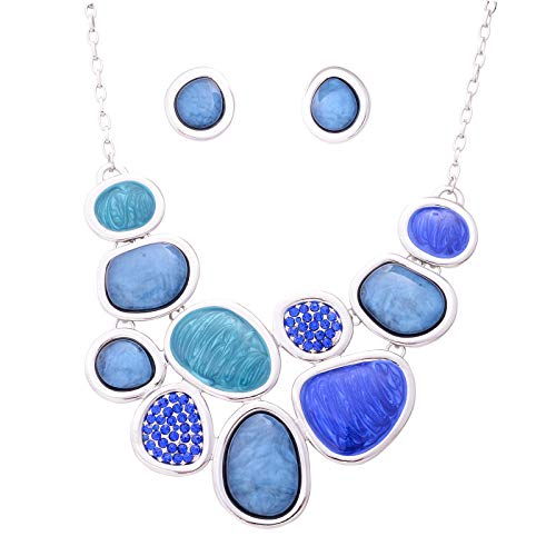 Fenni Vintage Colorful Crystal Bubble Chunky Statement Necklace Earrings Set Wedding Party Jewelry (Blue)