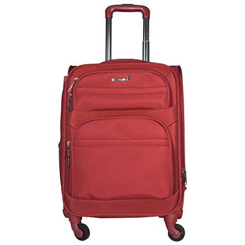 TRAWORLD Nylon 4 Wheel Trolley Bag  20 Inch, Red