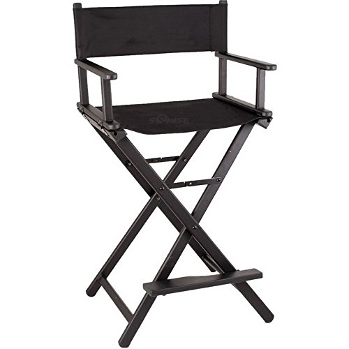 "Sunrise JL009AB 29"" Black Aluminum Director Chair"