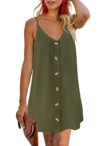 Lady Mini Button - BLENCOT Women's Ladies Button Up Sleeveless Cami Tank Dress Sloid Plain Stretchy Sun Dress Green XL
