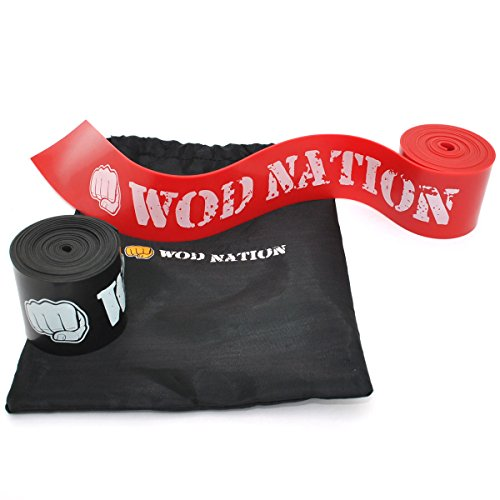 Muscle Floss Bands by WOD Nation - Recovery Band for Tack and Flossing Sore Muscles and Increasing Mobility - Stretch Band Includes Carrying Case (1 Black & 1 Red)