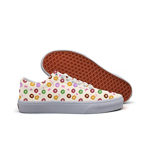 Funny I Love Colorful Doughnuts Yellow Women Canvas Low Top Skateboarding Shoes