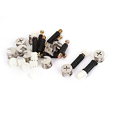 uxcell Furniture Connector 15mm Cam Fittings Pre-inserted Nuts Dowels 10 Sets