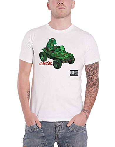 Gorillaz T Shirt Geep Band Logo Official Mens White Size M (Gorillaz Tee Shirts)