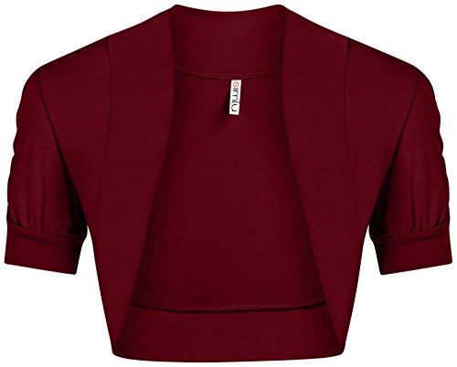 Burgundy Shrug for Women Short Sleeve Bolero Top Regular and Plus Size Shrug (Shrug Sweater Top)
