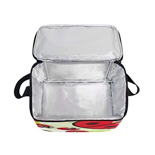 pour à déjeuner lunch nique Sac à transparente Boîte mignon pique Bandoulière Dessin Cooler Motif Coccinelle animé HFxzq65wF