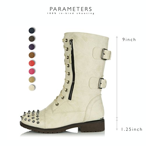 up Buckle Pocket Ivory Women's Studded High Knee Military Booties Front Boots Mid Card DailyShoes Combat Lace Credit Exclusive Pu wItgnqO