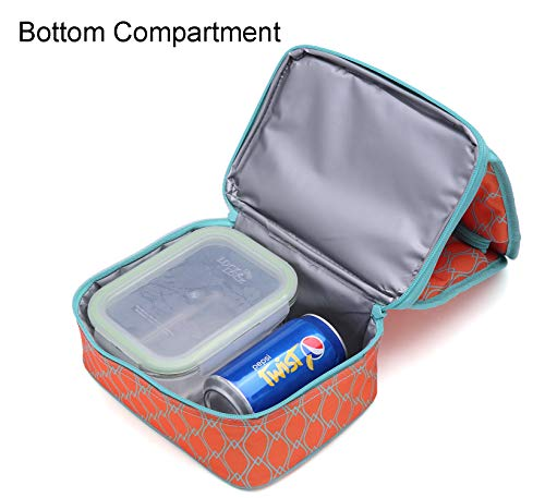 14864b46269b MIER Dual Compartment Insulated Lunch Box Bag Reusable Cooler Bag ...