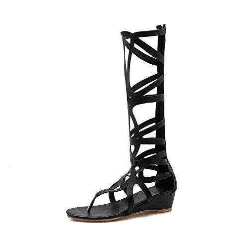 gladiador de 5LX mujer Sandalias piel de rodilla alta 9910 Liuruiya para sintética Negro GT abierta puntera cuerda 7AOzdnxT