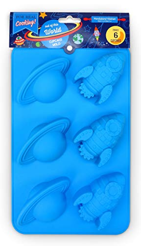 Handstand Kitchen Out of this World Silicone Rocket and Planet Shaped Cupcake Mold]()