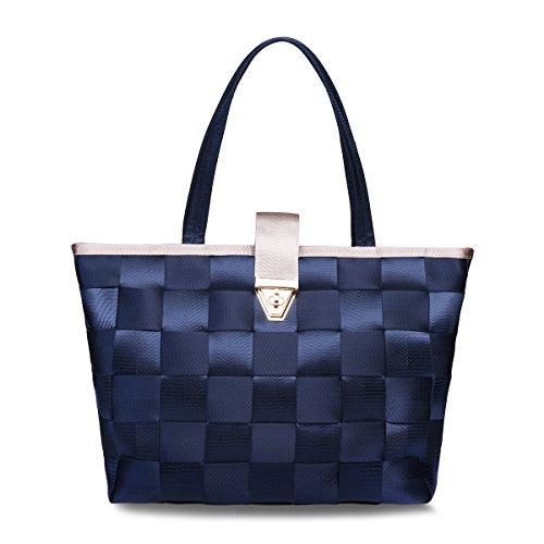 Vavabox Womens Purses and Handbags Ladies Designer Satchel Tote Bag Shoulder Bag (Navy Blue)