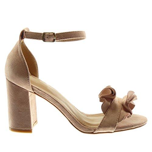 Angkorly 8 Lanière Chaussure 5 Sandale Femme À Talon Haut Cm Rose Cheville Volants Bloc Mode XwPkZuTOi
