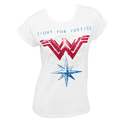 Wonder+Woman+Shirts Products : Wonder Woman Rolled Sleeve Ladies Fight For Justice Tee Shirt