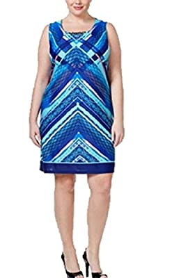 NY Collection Plus Size Printed Shift Dress 3X
