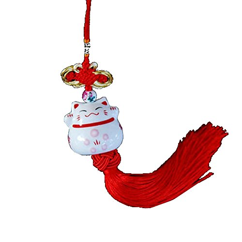 Lucky Pendant Cat - SUKRAGRAHA Lucky Cute Ceramic Japanese Maneki Neko Cat Hanging Pendant Car Interior Home Decoration Accessories