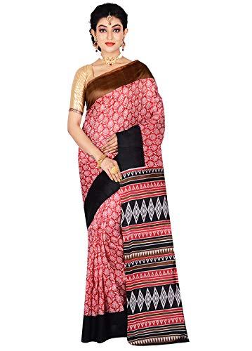 AllSilks Red Block Printed Leaf Designed Ganga Jamuna Saree for Women