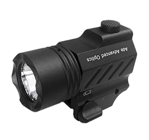 Ade Advanced Optics PL200S-A-1 Ultra Compact Tactical Strobe Flashlight 400 Lm Pistol Handgun Torch Light with Strobe Mode for Hiking, Camping, Hunting & Other Indoor/Outdoor Activities (Pistol Flashlight)