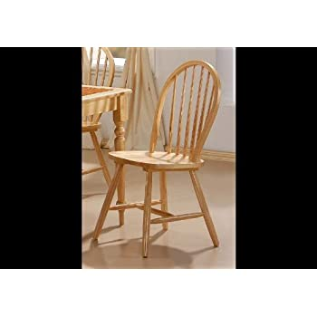 Natural Finish Spindle Back Wood Dining Chair Set of 4  sc 1 st  Amazon.com & Amazon.com - Natural Finish Spindle Back Wood Dining Chair Set of 4 ...