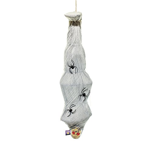 Halloween Haunters Hanging 66 Animated Skeleton Body Inside Cocoon Spider Web Prop Decoration - Shaking Body & Red Light-Up Eyes (Battery Operated)