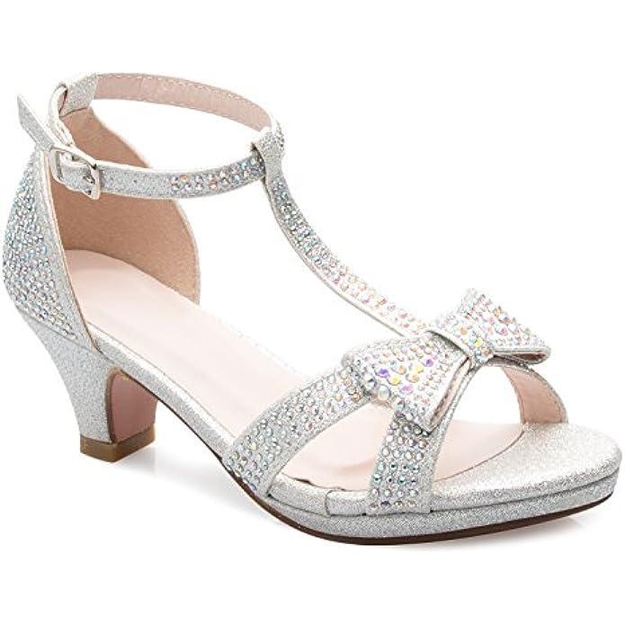 OLIVIA K Girl's Glitter Leatherette Open Toe Strappy Ankle T Strap Kitten Heel Sandal (Toddler/Little Girl)