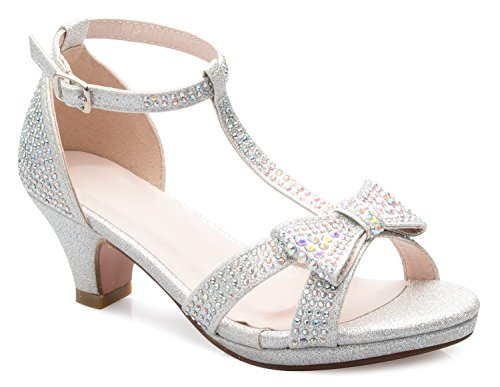 OLIVIA K Girl's Glitter Leatherette Open Toe Strappy Ankle T Strap Kitten Heel Sandal (Toddler/Little Girl)]()
