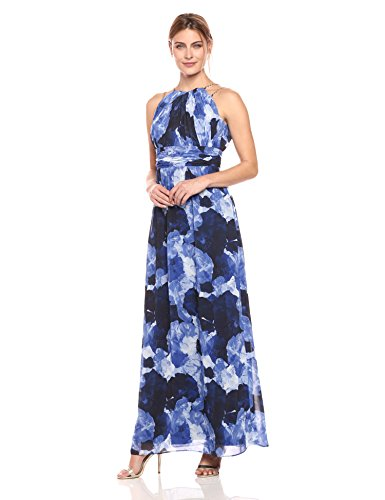 Sangria Women's Floral Chiffon Gown, Blue/Multi, 8 - Floral Chiffon Gown