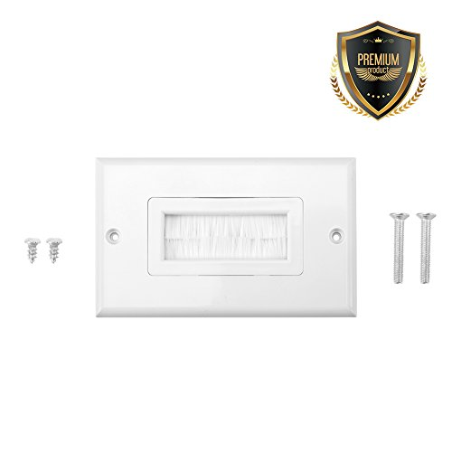 Brush Wall Plate, Cable Pass Through Insert for Wires, Cable Management Pass-Through Wall Plate Cable Access Strap for Coaxial Cables, HDTV HDMI Home Theater Systems(Single Gang) (Pass Through Faceplate)