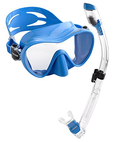Cressi Scuba Diving Snorkeling Freediving Mask Snorkel Set, Blue