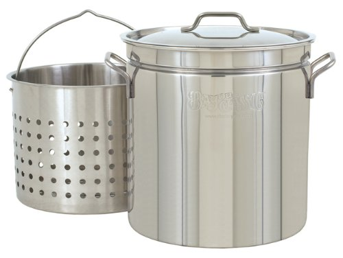 Bayou Classic 1124 24-Quart All Purpose Stainless Steel Stockpot with Steam and Boil Basket by Bayou Classic