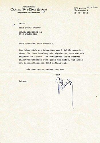 Alfons Gorbach (+) CHANCELLOR OF AUSTRIA autograph, signed letter