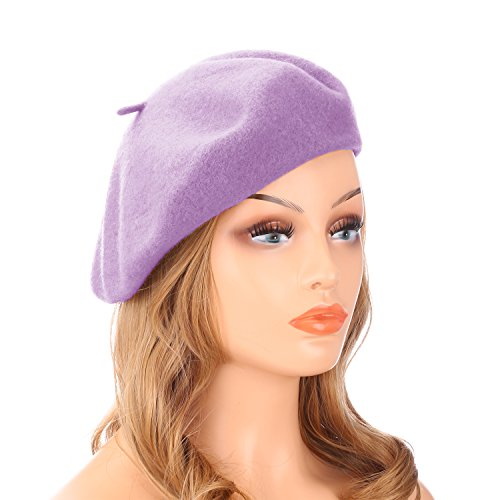 - Wheebo Wool Beret Hat,Solid Color French Style Winter Warm Cap for Women Girls … (Light Purple)
