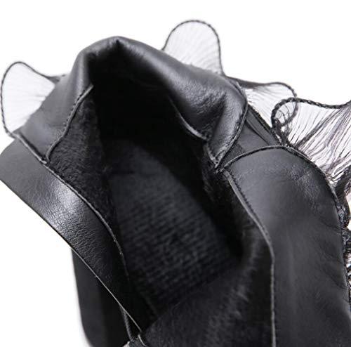 Cortas Alto Puntillas Black Encaje Invierno De Para Shiney Con Altas Mujer Otoño Botas Tacón fY45pnqpZ