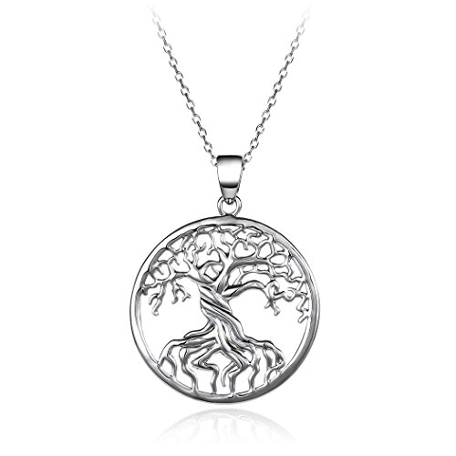 HONGYE JEWELRY Platinum-plated and Gold Plated Tree of Life Disk Chain Pendant Necklace - Gold Pendant Plated Charm
