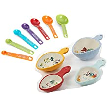 Pioneer Woman Willow Ceramic Measuring Scoop Set With Farberware 7pc Measuring Spoon Set Bundle