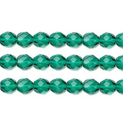 Czech Faceted Round Fire Polished Glass Beads. Preciosa Teal 8mm 16 Inch Strand