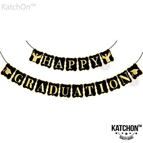 Happy Graduation Banner, Graduation Decorations - Assembled | Graduation Party Supplies 2019 | Grad Party Decor for Home, College, Senior, High School Prom Decorations, Black and Gold, Large]()