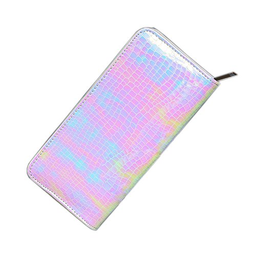 Long Wallet for Women With zipper Holographic Clutch Wallet Pouch Purse (Pink) - Snake Long Wallet