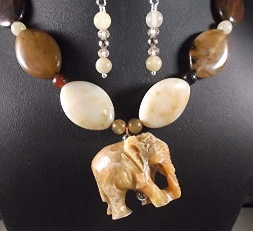 (Gemstone Artisan Carved SOAP Stone Elephant Jade Pendant Necklace Earring Set DF-51)