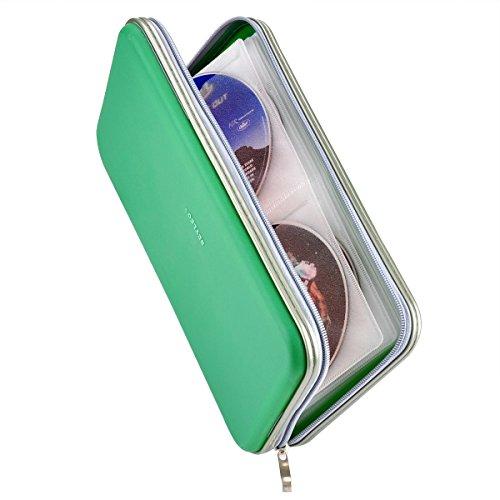 Wismart 72 Capacity Heavy Duty CD DVD Blu-ray Media Case Storage Holder Organizer Wallet (Green)