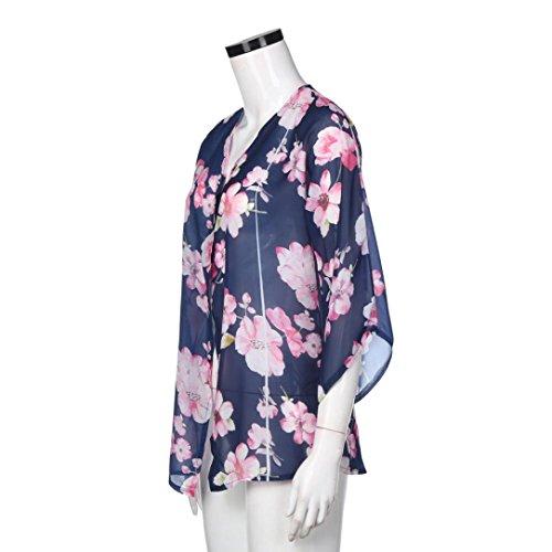 Cárdigan kimono con mangas estampado floral chifón, Ba Zha Hei Vestidos mujer Sexy manga larga mini manga corta para mujer Vestido de sexy Transpirable y ...
