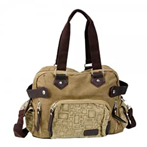 Fashionable Men Canvas Handbag Shoulder Messenger Bag Khaki
