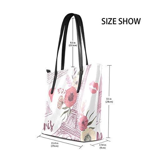 Floral TIZORAX Tower Top Purses Fashion PU Handle Handbag Eiffel Totes Shoulder Paris Women's Bags Leather tqrH1antx