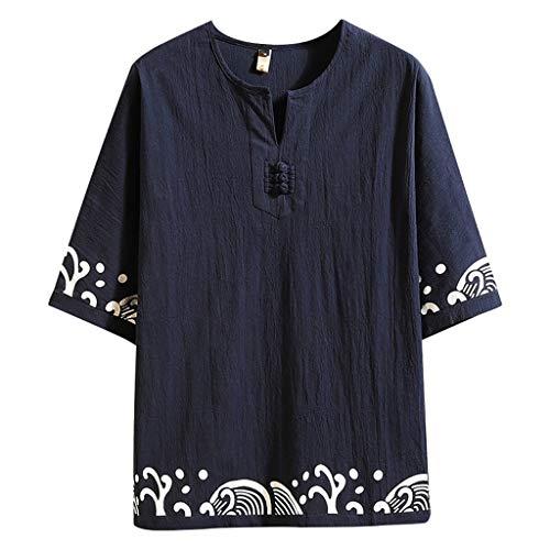 (Men's Cotton Linen Half Sleeve T-Shirts Summer Casual Retro Printing Top Blouse Navy)
