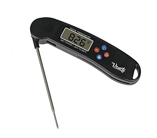 Instant Read Cooking Thermometer with Blue Backlit LCD Display. Great for BBQ & Grilling Food. (Black)