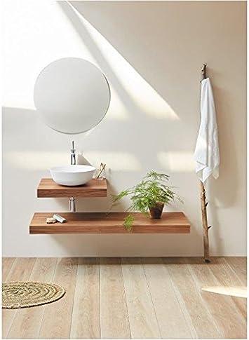 Plan Vasque Suspendu Zero pour Salle de Bain Design, Noyer ...