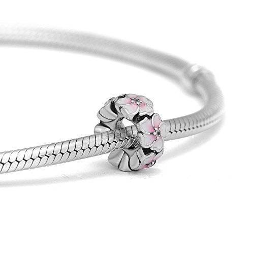- CKK DIY Fits for Pandora Charms Bracelets 100% 925 Sterling Silver Jewelry Petal Space Beads with Pink Color,2.0g.