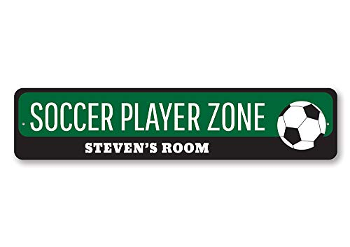 (The Lizton Sign Shop Soccer Player Zone Sign, Personalized Soccer Lover Kid Bedroom Sign, Custom Soccer Ball Child Name Room Decor - Quality Aluminum ENSA1002062-4 x18 Quality Aluminum Sign)